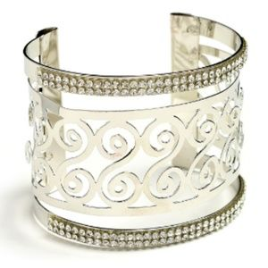 NWT Silver and Gemstone Jazzy Cutout Cuff Bracelet
